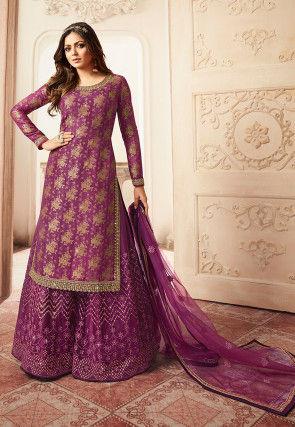 Woven Art Silk Jacquard Pakistani Suit in Purple
