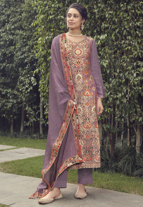 Woven Art Silk Jacquard Pakistani Suit in Purple