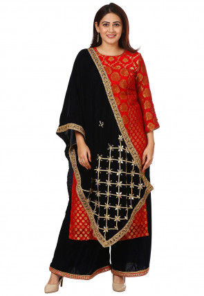 Woven Art Silk Jacquard Pakistani Suit in Red