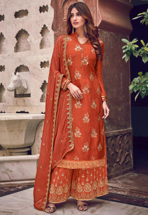 Woven Art Silk Jacquard Pakistani Suit in Rust