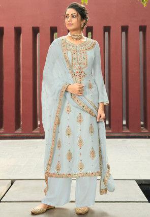 Woven Art Silk Jacquard Pakistani Suit in Sky Blue