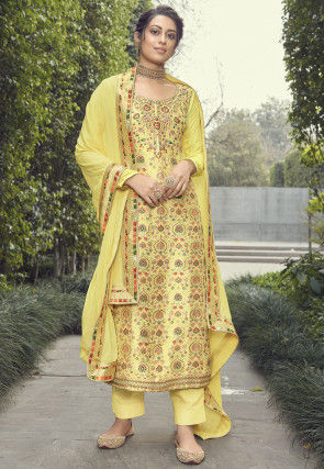 Woven Art Silk Jacquard Pakistani Suit in Yellow