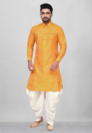 Woven Art Silk Jacquard Pathani Suit in Mustard