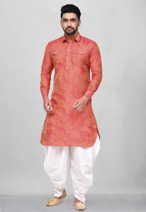 Woven Art Silk Jacquard Pathani Suit in Peach