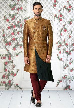 Woven Art Silk Jacquard Pleated Sherwani in Golden