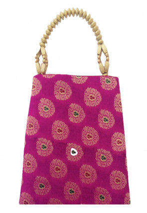Woven Art Silk Jacquard Potli Bag in Magenta