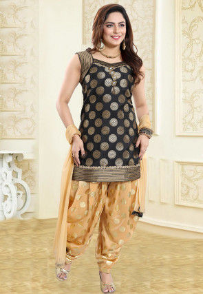 Woven Art Silk Jacquard Punjabi Suit in Black