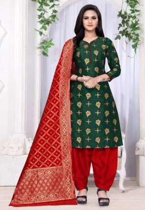 Woven Art Silk Jacquard Punjabi Suit in Dark Green
