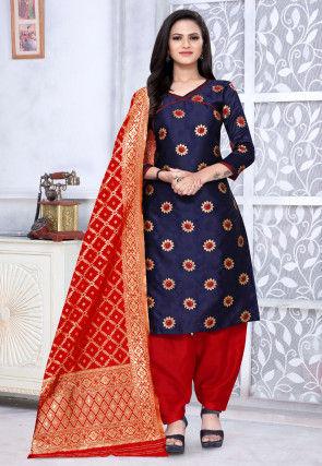Woven Art Silk Jacquard Punjabi Suit in Navy Blue