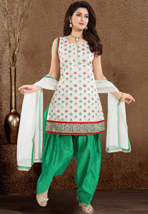 Woven Art Silk Jacquard Punjabi Suit in Off White