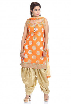 Woven Art Silk Jacquard Punjabi Suit in Orange