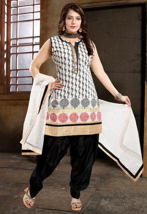 Woven Art Silk Jacquard Punjabi Suit in White and Black