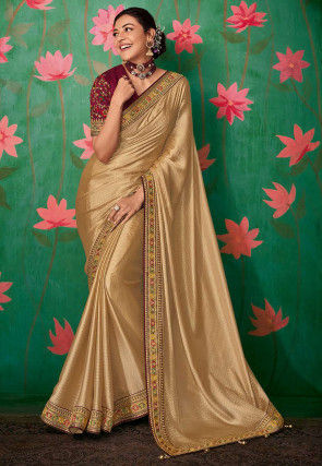 Woven Art Silk Jacquard Saree in Beige