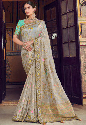 Woven Art Silk Jacquard Saree in Dusty Grey