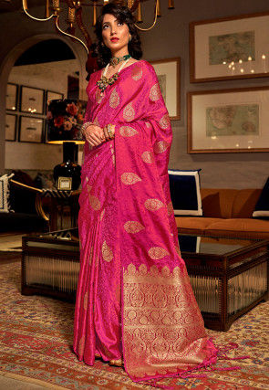 Woven Art Silk Jacquard Saree in Fuchsia