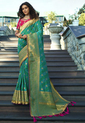 Woven Art Silk Jacquard Saree in Green and Blue