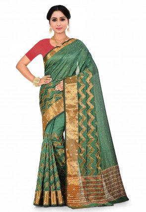Woven Art Silk Jacquard Saree in Green