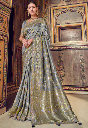Woven Art Silk Jacquard Saree in Grey