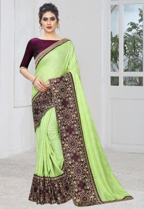 Woven Art Silk Jacquard Saree in Light Green