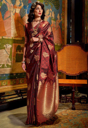 Woven Art Silk Jacquard Saree in Maroon