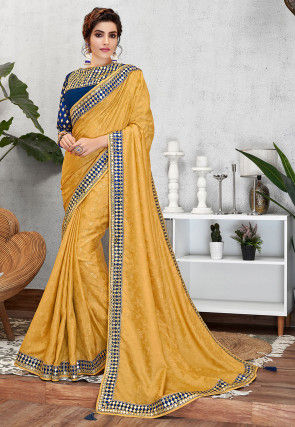 Woven Art Silk Jacquard Saree in Mustard