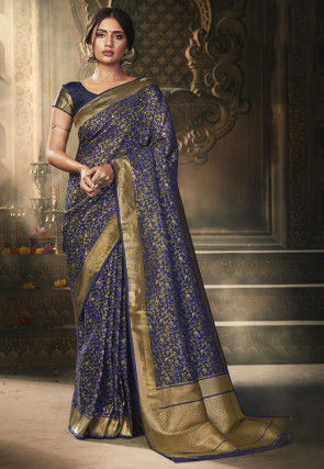 Woven Art Silk Jacquard Saree in Navy Blue