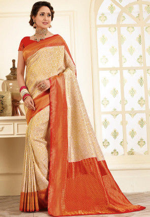 Woven Art Silk Jacquard Saree in Off White and Red