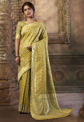 Woven Art Silk Jacquard Saree in Olive Green