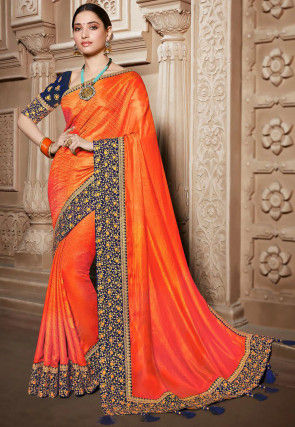 Woven Art Silk Jacquard Saree in Orange