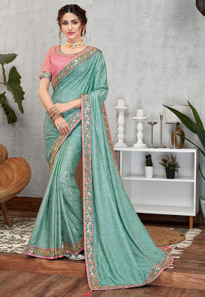 Woven Art Silk Jacquard Saree in Pastel Blue