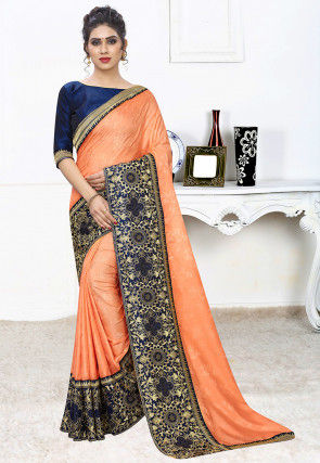 Woven Art Silk Jacquard Saree in Pastel Orange