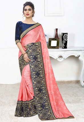 Woven Art Silk Jacquard Saree in Peach