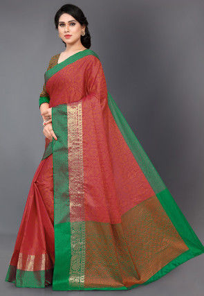 Woven Art Silk Jacquard Saree in Pink