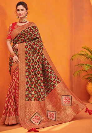 Woven Art Silk Jacquard Saree in Red and Black