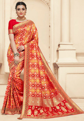 Woven Art Silk Jacquard Saree in Red and Yellow