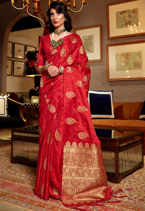 Woven Art Silk Jacquard Saree in Red