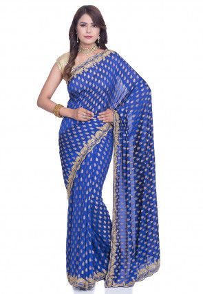 Woven Art Silk Jacquard Saree in Royal Blue