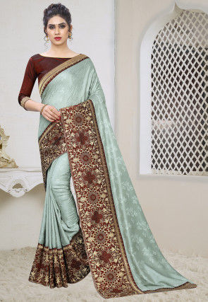 Woven Art Silk Jacquard Saree in Sea Green