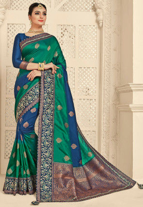 Woven Art Silk Jacquard Saree in Teal Green and Dark Blue