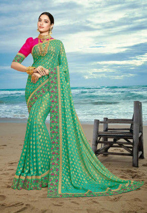 Woven Art Silk Jacquard Saree in Teal Green