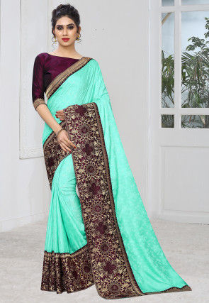 Woven Art Silk Jacquard Saree in Turquoise