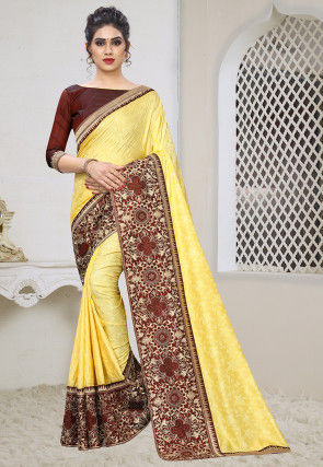 Woven Art Silk Jacquard Saree in Yellow