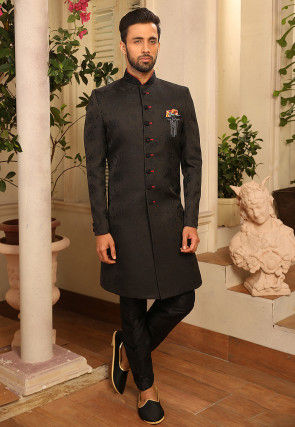 Woven Art Silk Jacquard Sherwani in Black