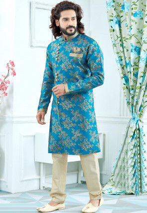 Woven Art Silk Jacquard Sherwani in Blue