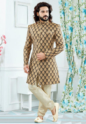 Woven Art Silk Jacquard Sherwani in Brown and Golden