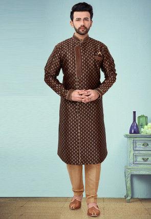 Woven Art Silk Jacquard Sherwani in Brown