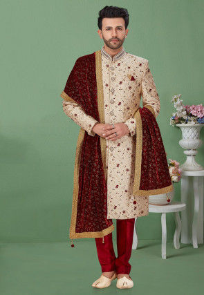 Woven Art Silk Jacquard Sherwani in Cream