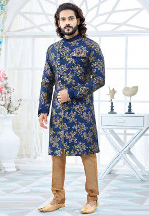 Woven Art Silk Jacquard Sherwani in Dark Blue