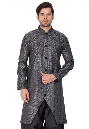 Woven Art Silk Jacquard Sherwani in Dark Grey