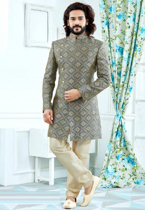 Woven Art Silk Jacquard Sherwani in Grey